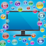 Monitor and application icons Stock Photos