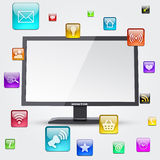 Monitor and application icons Stock Image