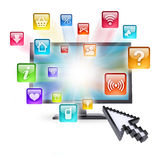 Monitor and application icons Stock Photo