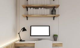 Monitor auf Schreibtisch Stockbild