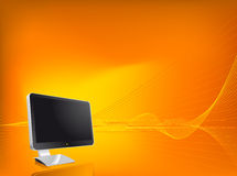 Monitor Background. Orange wallpaper with modern monitor Stock Image