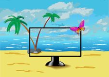 The monitor is on the beach. Stock Photos