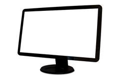 Monitor in bianco isolato ad angolo del computer dell'ampio schermo Fotografia Stock