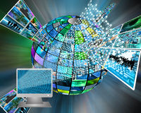 Monitor and binary code Stock Photo