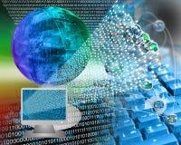 Monitor and binary code Royalty Free Stock Photos