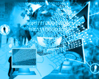Monitor and binary code Royalty Free Stock Image