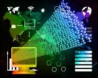 Monitor and binary code Royalty Free Stock Photography