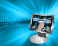 Monitor and binary code Royalty Free Stock Images