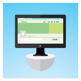 Monitor. Black flat monitor for your info-graphic, print ad or stock animation object Royalty Free Stock Photo