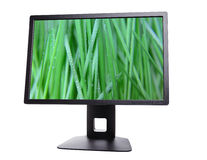 Monitor. Black monitor with the image, enable computer monitor isolated on white Royalty Free Stock Photos