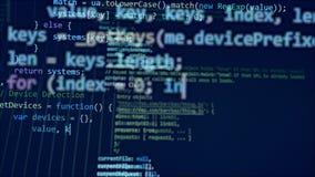 Monitor blu con molte cifre in un codice illustrazione di stock