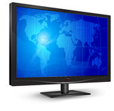 Monitor with blue screen. Plasma, lcd tv with world map on blue screen, vector illustration Stock Photo