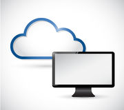 Monitor and border storage cloud. illustration Stock Images