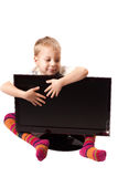 Monitor and a boy four years. Flat Panel Monitor on a white background and a boy four years Stock Images