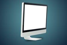 Monitor branco dianteiro do computador Foto de Stock Royalty Free