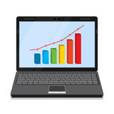 Monitor with business graph. Royalty Free Stock Photo