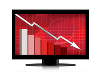 Monitor Business worries graph. Business worries in monitor. Vector available Royalty Free Stock Photos
