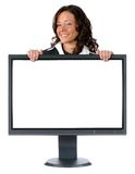 Monitor and businesswoman with Stock Images