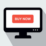 Monitor with Button Buy Now. Concept of Online Shop. Royalty Free Stock Images