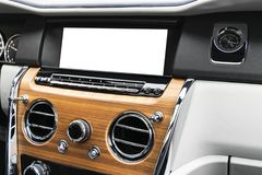 Monitor in car with blank screen use for navigation maps and GPS. on white with clipping path. Car detailing. Ca. R display with blank screen. Modern car stock image