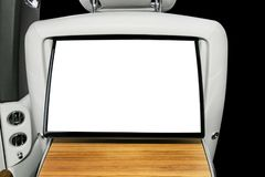 Monitor in car with isolated blank screen use for navigation maps and GPS. Isolated on white with clipping path. Car detailing. Ca. R display with blank screen royalty free stock image