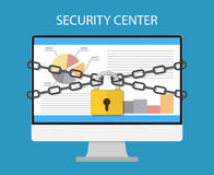 Monitor with chains and locked  a padlock. Computer monitor are bound with chains and locked with a padlock. concept of security center. flat illustration Royalty Free Stock Photography