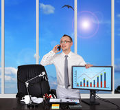 Monitor with chart Royalty Free Stock Images