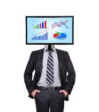 Monitor with chart for a head Royalty Free Stock Photos
