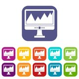 Monitor and a chart icons set Royalty Free Stock Image