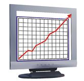Monitor with chart line. Computer monitor with chart line Vector Illustration