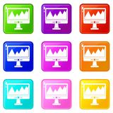 Monitor and a chart set 9. Monitor and a chart icons of 9 color set isolated vector illustration Stock Photos