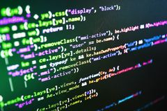 Monitor closeup of function source code. stock photos