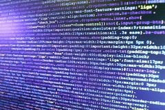 Monitor closeup of function source code. Programmer occupation job stock image