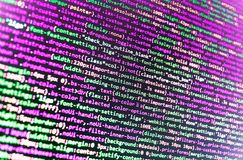 Monitor closeup of function source code. Programmer occupation stock image