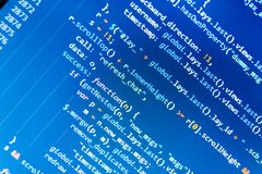 Monitor closeup of function source code. Website programming code. Programming code typing. vector illustration