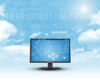 Monitor in cloud sky Stock Photos