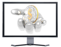 Monitor with coins isolated on white Stock Photo