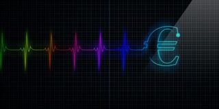Monitor colorido del latido del corazón con euro Imagenes de archivo