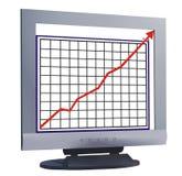 Monitor com linha de carta Foto de Stock Royalty Free