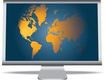 Monitor com um mundo ilustração do vetor