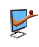 Monitor com uma maçã fotos de stock royalty free