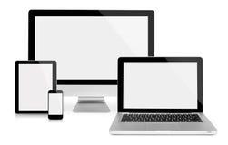 Monitor, compressa, computer portatile e telefono del computer Fotografia Stock