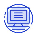 Monitor, Computer, Hardware Blue Dotted Line Line Icon stock illustration
