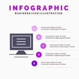 Monitor, Computer, Hardware Solid Icon Infographics 5 Steps Presentation Background royalty free illustration