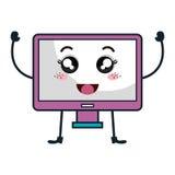 monitor computer kawaii character Stock Images
