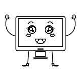 monitor computer kawaii character Stock Photos