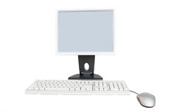 Monitor, computer mouse and keyboard Stock Images