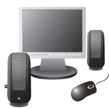 The monitor, computer mouse, and musical Stock Photo