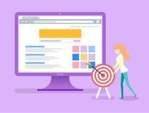 Monitor con informazioni ed affare di Infocharts illustrazione di stock