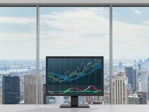 Monitor con la carta de las divisas Fotos de archivo libres de regalías